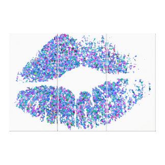 Läppar #32 för multifärgadgrusglitter canvastryck