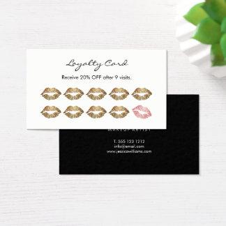 Läppar för lojalitet för Makeupkonstnär chic guld- Visitkort