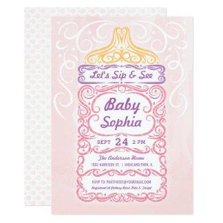 Läppja och se babyflaskaflickan 12,7 x 17,8 cm inbjudningskort