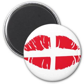 läppstift för danskdanmarkflagga magnet rund 5.7 cm