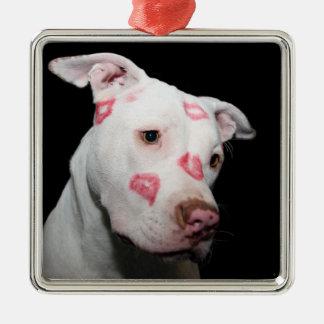 Läppstiftkyssar av kärlek för den Pitbull hunden Julgransprydnad Metall