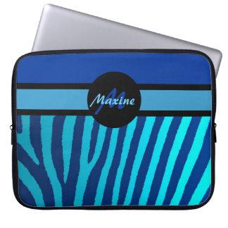 Laptop sleeve för blåttzebra ränderanpassade laptopfodral