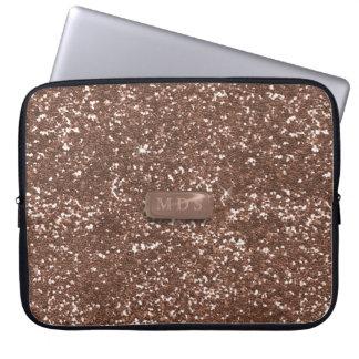 Laptop sleeve för glitter för Monogram för guld 3D