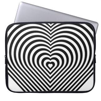 Laptop sleeve för hjärta B&W för sebra randig Laptopskydd Fodral