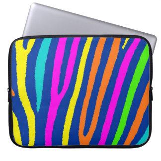 Laptop sleeve för ljus zebra ränder för neon färgr datorfodral