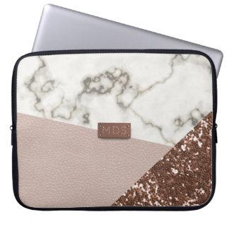 Laptop sleeve för marmor för glitter för