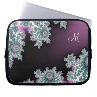 Laptop sleeve för Monogram för chokladMintFractal Datorskydds Fodral