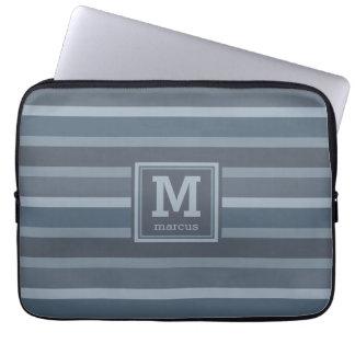 Laptop sleeve för monogram för randmönster datorskydds fodral