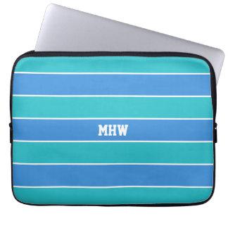 Laptop sleeve för monogram för randmönster laptop datorfodral