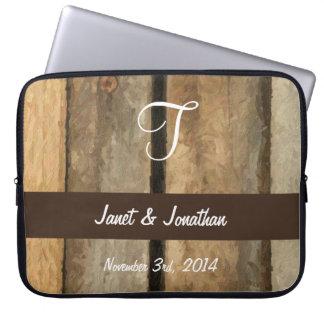 Laptop sleeve för Monogram för T-anpassade Wood Datorfodral