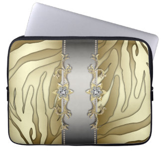 Laptop sleeve för sebra för guld- silverdiamant datorfodral