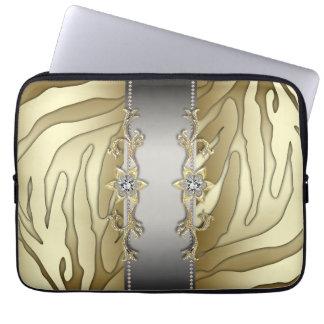 Laptop sleeve för sebra för guld- silverdiamant gu datorskydds fodral