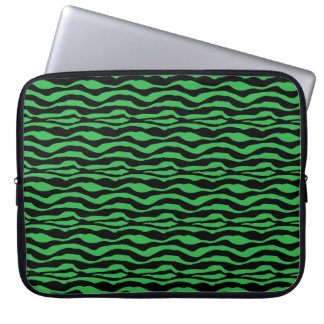 Laptop sleeve för tryck för grön sebra för chic