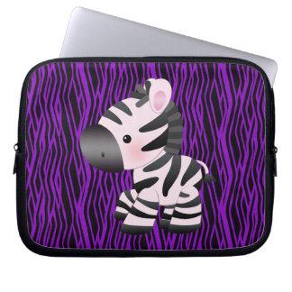 Laptop sleeve för tryck för sebra- & lilastruktur laptopskydd fodral