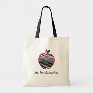 Lärare hänger lös - Houndstooth och rosor Apple Tote Bags