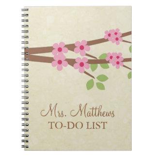 Lärare som ska göras, listar anteckningsboken - spiral anteckningsbok