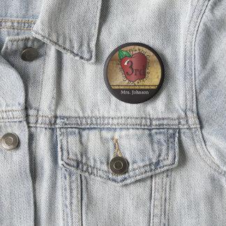 Lärare vintage utformade 3rd klass standard knapp rund 5.7 cm
