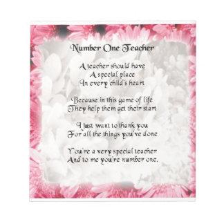 Läraredikt - rosa blom- kantdesign anteckningsblock
