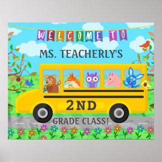 Lärareklassrumvälkomnandet undertecknar gulliga poster