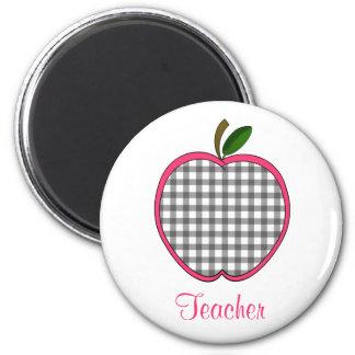 Läraremagnet - grå Gingham Apple för kol Magnet