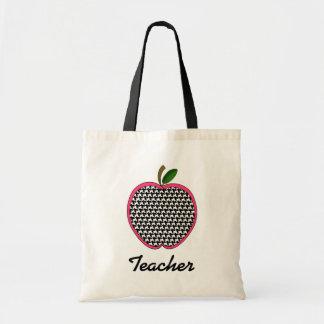 Lärarepåse Houndstooth Apple med rosaklippning Tote Bag