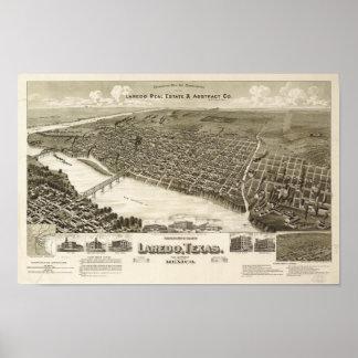 Laredo Texas 1892 antika panorama- karta Poster