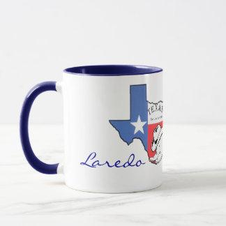 Laredo Texas statlig karta med stjärnan, kängor, Mugg