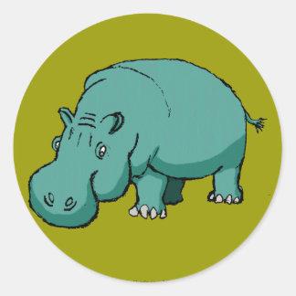 Larry hippo.en runt klistermärke