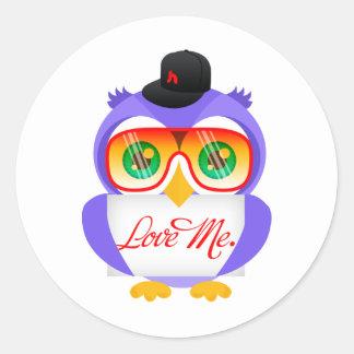 Larry ugglan (älska mig), runt klistermärke