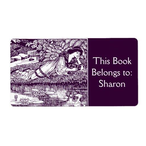 Läs- art nouveaubokägarmärke för kvinna fraktsedel