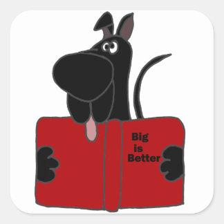 Läs- bok för svart great dane fyrkantigt klistermärke