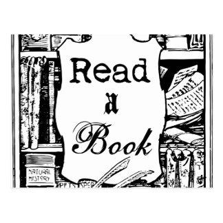 Läs en bok vykort