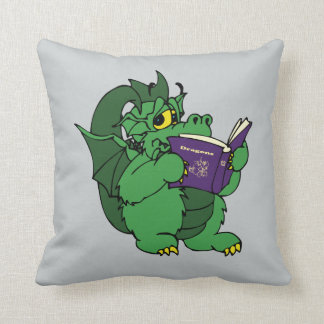 Läs- purpurfärgad drakebok för grön drake kudde