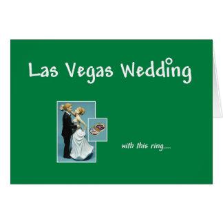 Las Vegas bröllop, med denna ring, brud & brudgum Hälsningskort