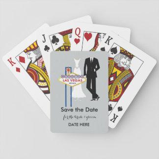 """Las Vegas bröllop """"spara datera"""" som leker kort Casinokort"""