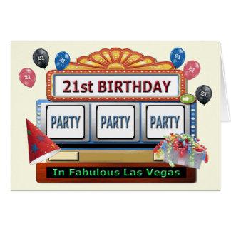 Las Vegas för födelsedag för PARTYPARTYPARTY 21st Hälsningskort