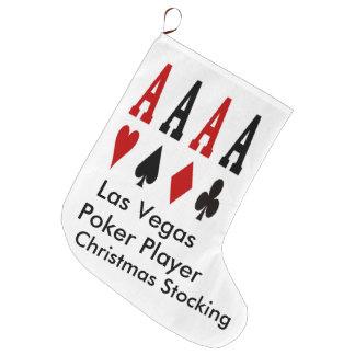 Las Vegas julstrumpa. Pokerspelare Large Christmas Stocking