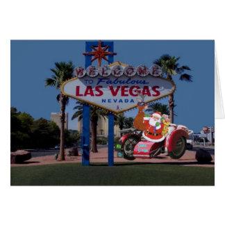 Las Vegas Santa & ren på cykelkort Hälsningskort