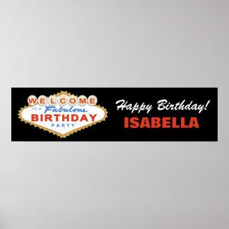 Las Vegas undertecknar födelsedagsfestbaneraffisch Affisch