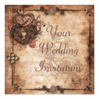 Låsa och stämma bröllopinbjudan fyrkantigt 13,3 cm inbjudningskort