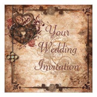 Låsa och stämma bröllopinbjudan