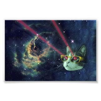 Laser-katt med exponeringsglas i utrymme fototryck