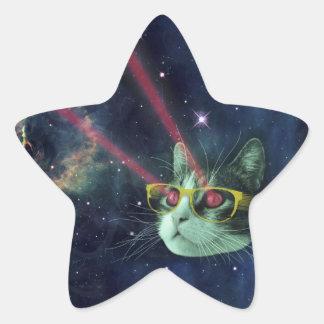 Laser-katt med exponeringsglas i utrymme stjärnformat klistermärke