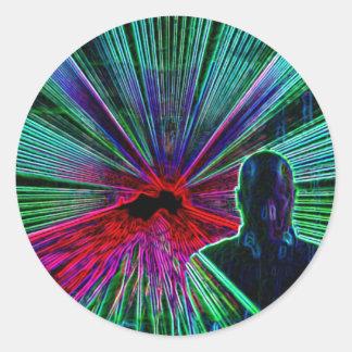 Laser på DJ-klistermärkear Runt Klistermärke