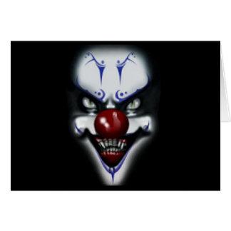Läskig clown för födelsedag hälsningskort
