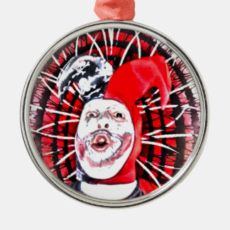 läskig clown rund silverfärgad julgransprydnad