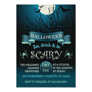 Läskig halloween festinbjudan i mörk - blått 12,7 x 17,8 cm inbjudningskort