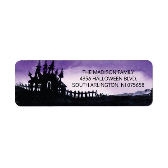 Läskig spökad etikett för husHalloween returadress Returadress Etikett