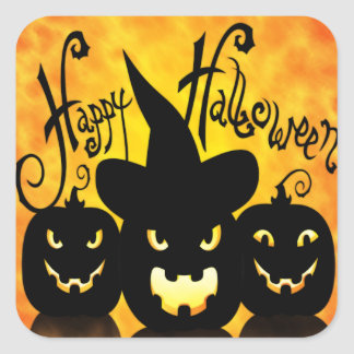 Läskiga Halloween pumpor Fyrkantigt Klistermärke