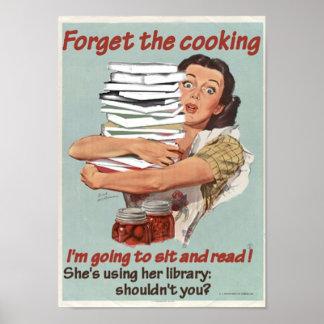 Läsning- eller matlagningaffisch poster